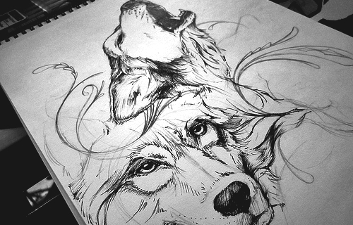 Wolf Tattoo Sketch Pen Pencil Sketch Wolf