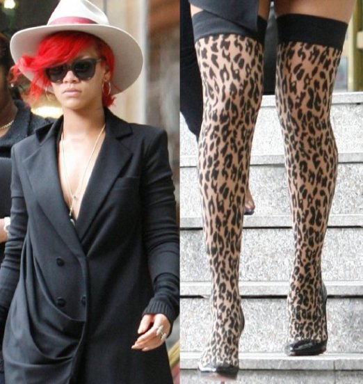 RiRi & [her] leopard print stockings.