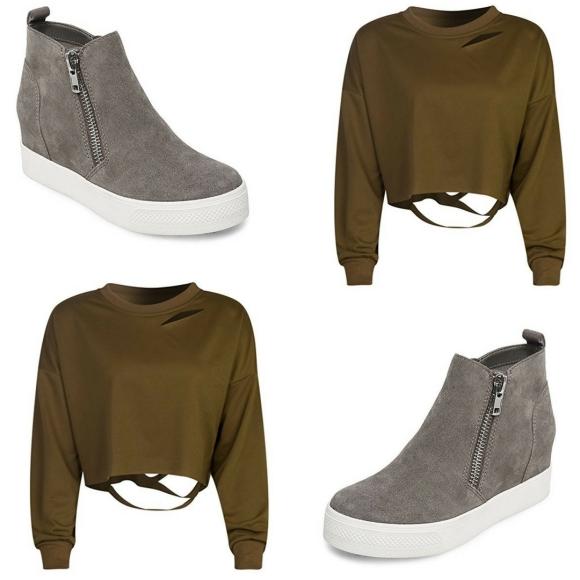olive crop sneaker